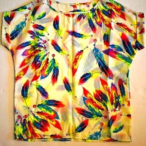 Polyester feathers and beads pullover top vintage